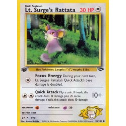 Lt. Surge's Rattata (common) (1st edition) (brugt stand)