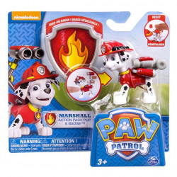 Paw Patrol - Actionhvalp og Badge - Marshall