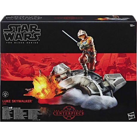 Luke Skywalker Centerpiece Star Wars The Black Series 6 Inch Tall Figure with Premium Light-Up Base