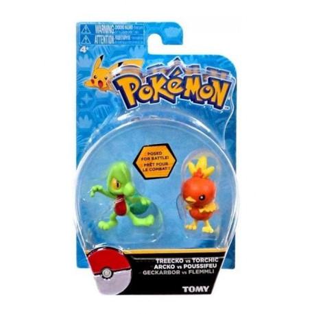 Treecko vs Torchic Pokemon figure 2-pack Posed for Battle (new)